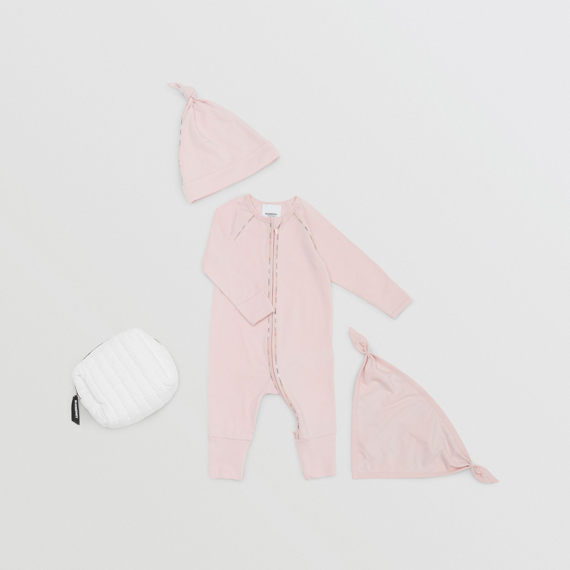 Check Trim Stretch Cotton Three-piece Baby Gift Set in Lavender Pink - Children | Burberry - gallery image 0