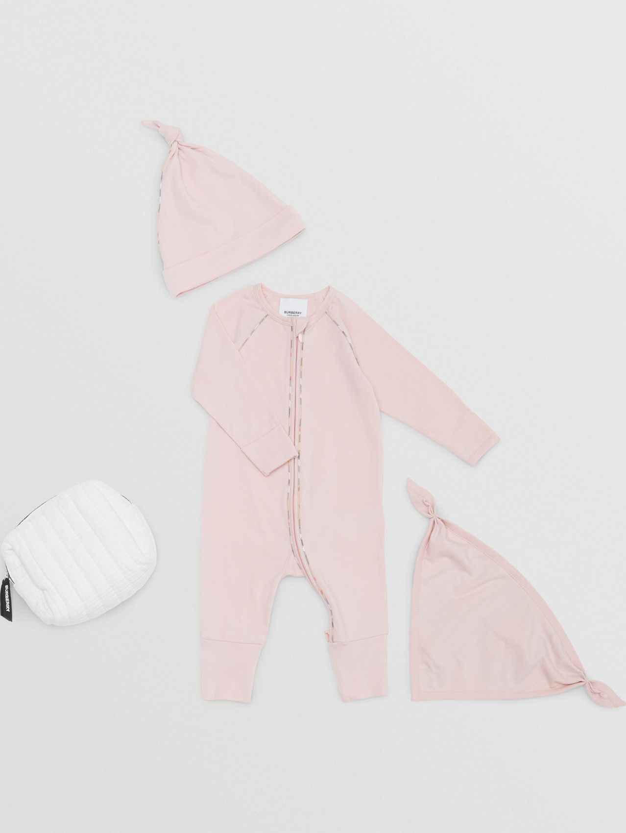 Check Trim Stretch Cotton Three-piece Baby Gift Set in Lavender Pink