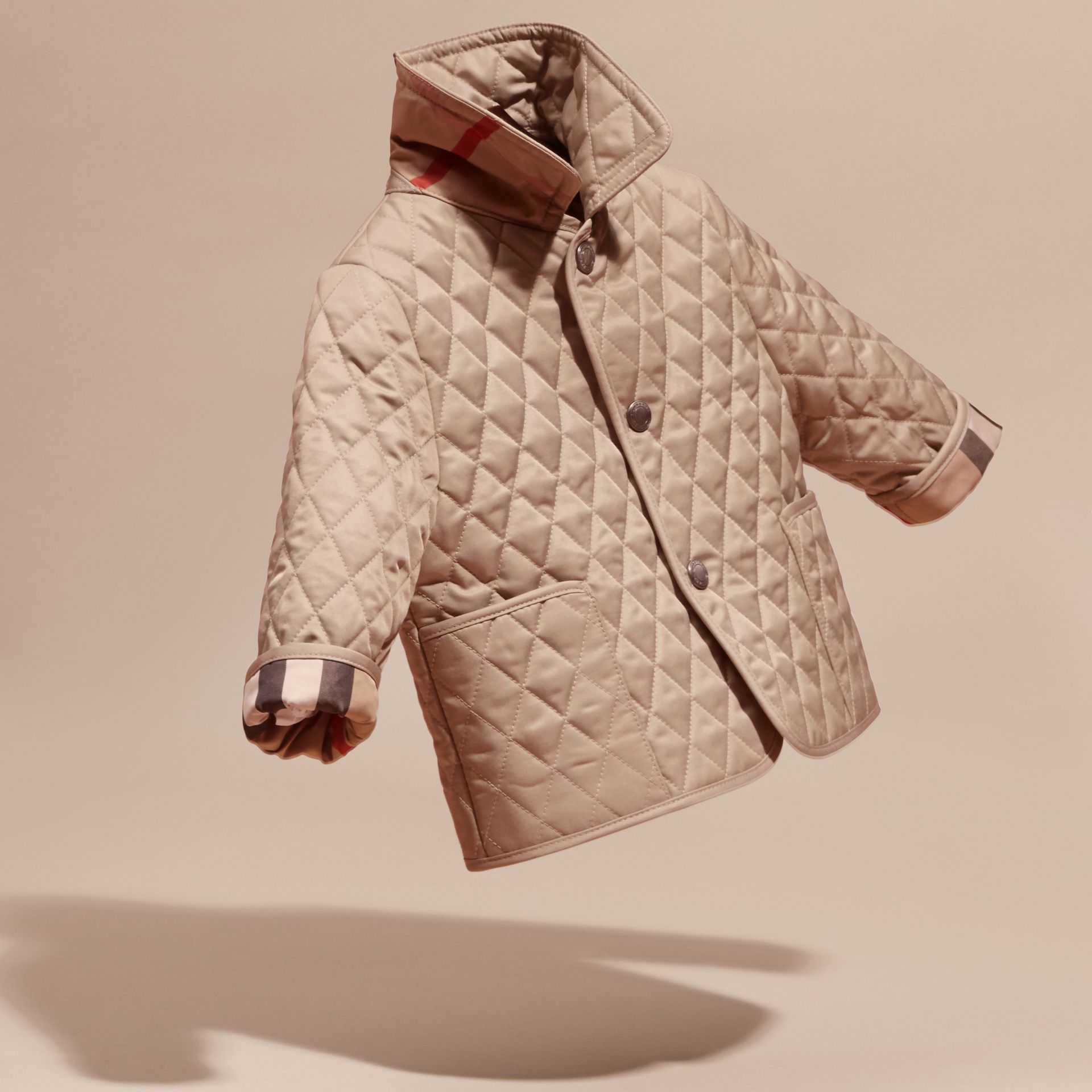 Check Detail Diamond Quilted Jacket in Mink | Burberry - gallery image 3