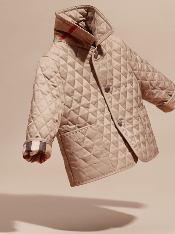 Check Detail Diamond Quilted Jacket in Mink | Burberry - cell image 2