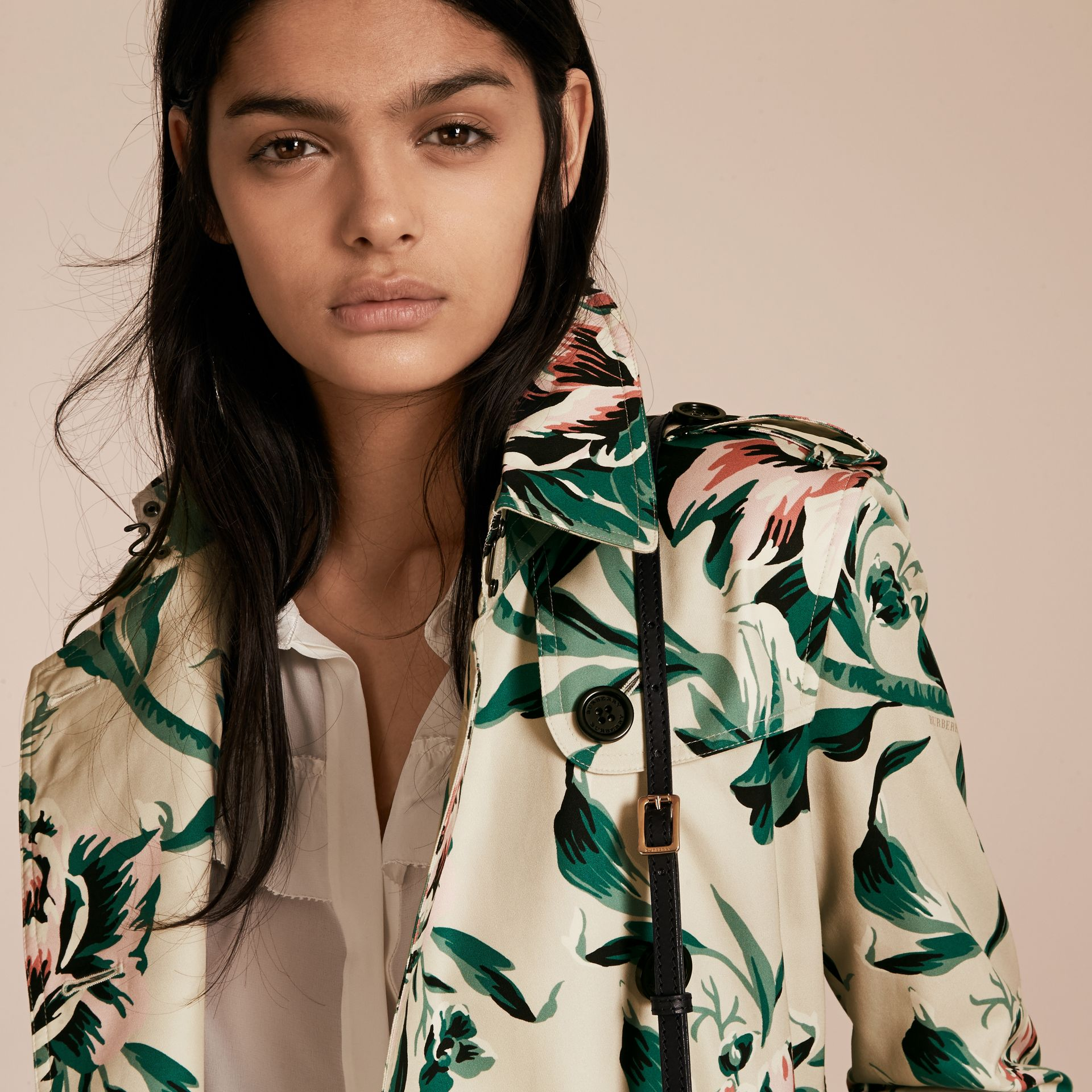 Peony Rose Print Cotton Trench Coat - Women | Burberry - gallery image 5