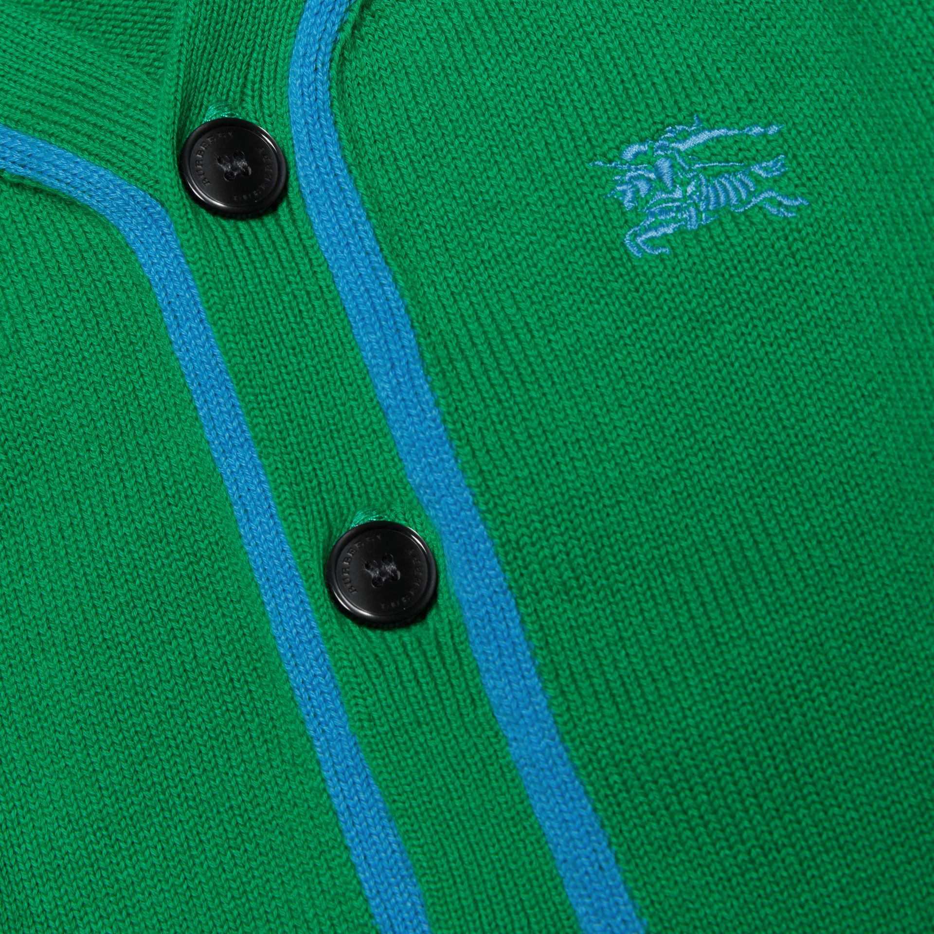 Two-tone Cotton Knit Cardigan in Bright Emerald - Children | Burberry Australia - gallery image 1