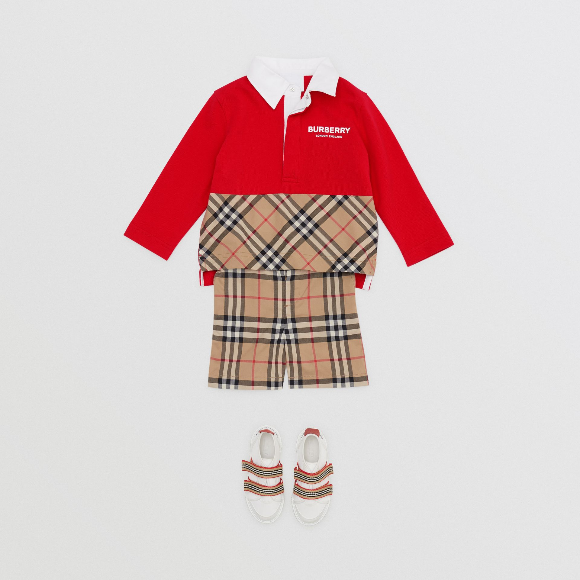 Long-sleeve Vintage Check Panel Cotton Polo Shirt in Bright Red - Children | Burberry United Kingdom - gallery image 2