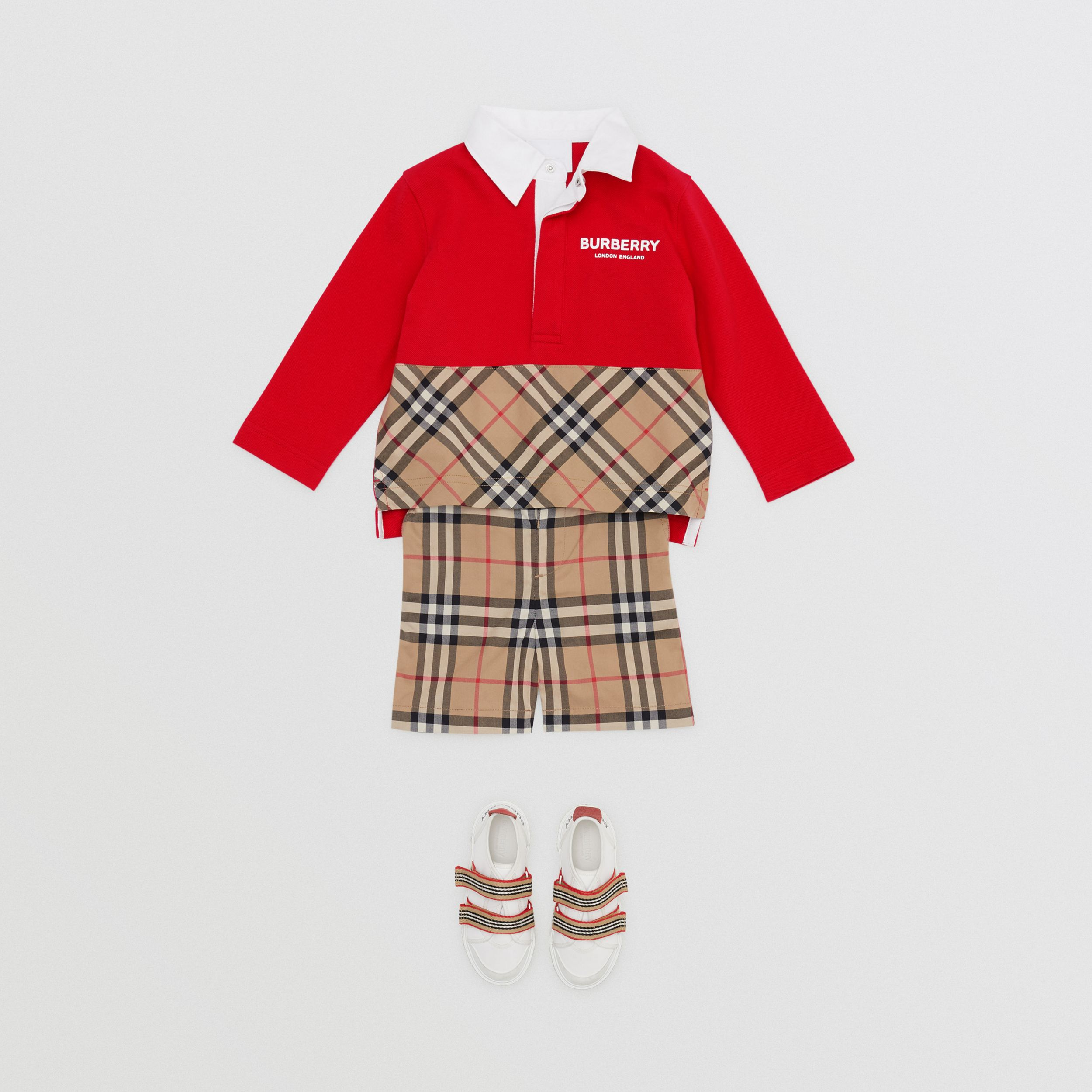 Long-sleeve Vintage Check Panel Cotton Polo Shirt in Bright Red - Children | Burberry - 3