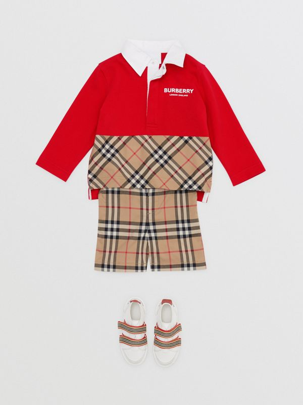 Long-sleeve Vintage Check Panel Cotton Polo Shirt in Bright Red - Children | Burberry United Kingdom - cell image 2