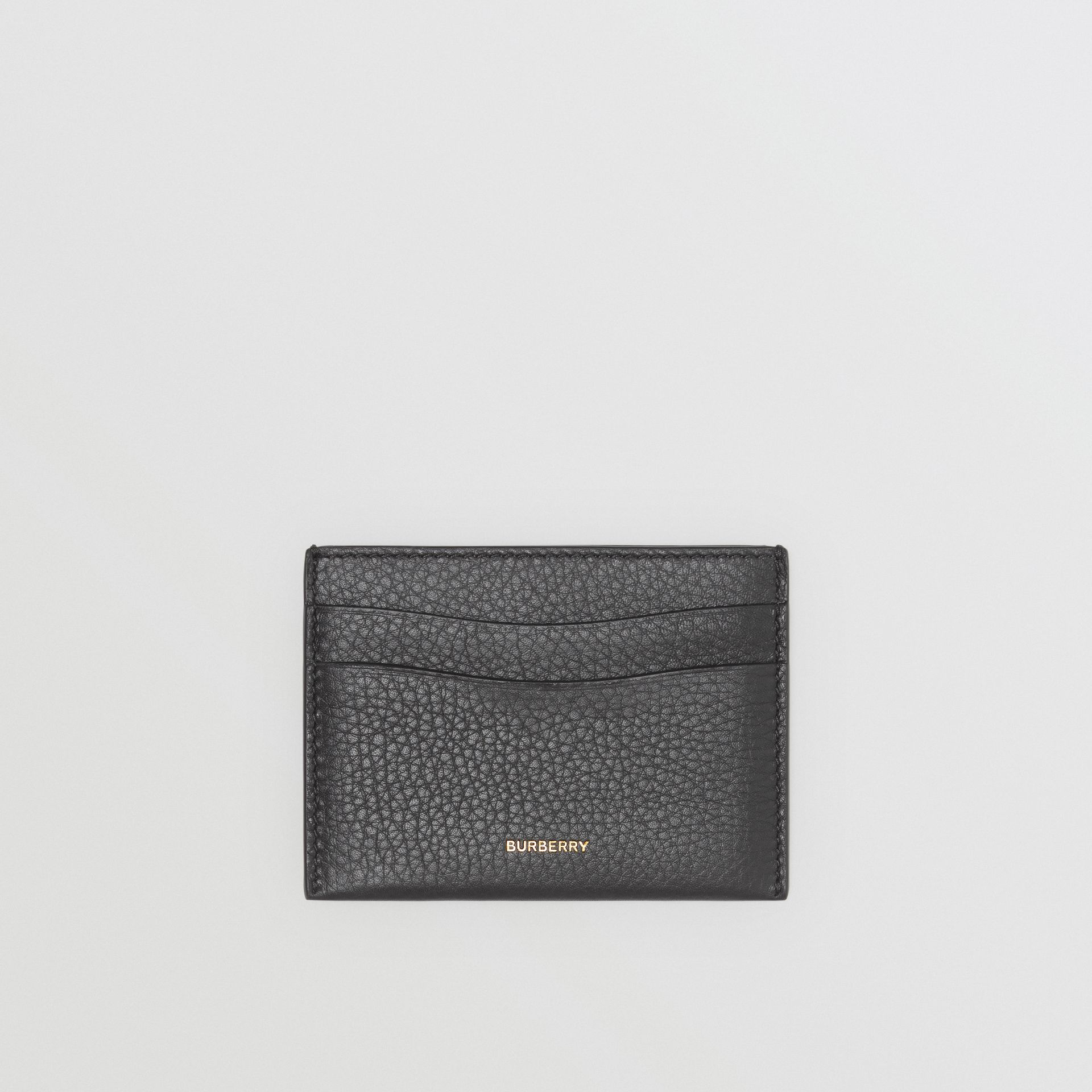 Grainy Leather Card Case in Black - Women | Burberry - gallery image 0