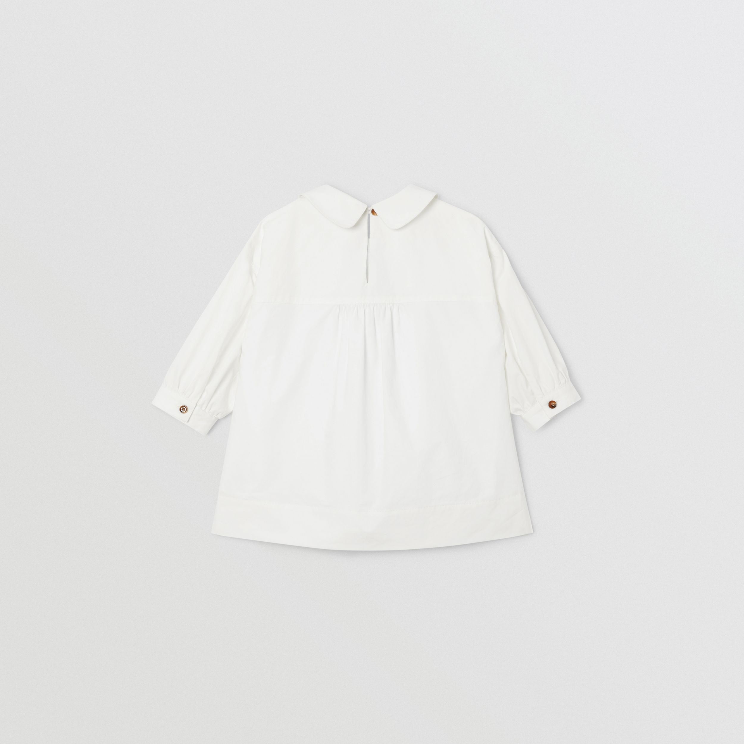 Icon Stripe Trim Stretch Cotton Poplin Dress in White - Children | Burberry - 4