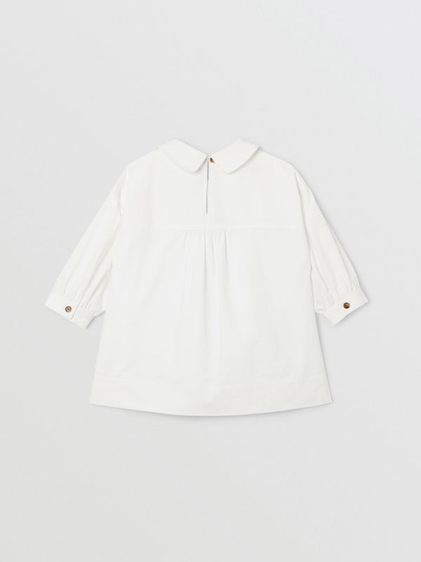 Icon Stripe Trim Stretch Cotton Poplin Dress in White - Children | Burberry United Kingdom - cell image 3
