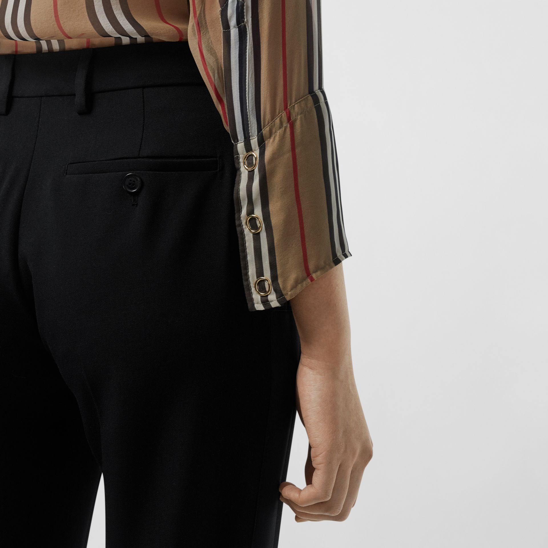 Satin Stripe Wool Silk Tailored Trousers in Black - Women | Burberry United Kingdom - gallery image 1