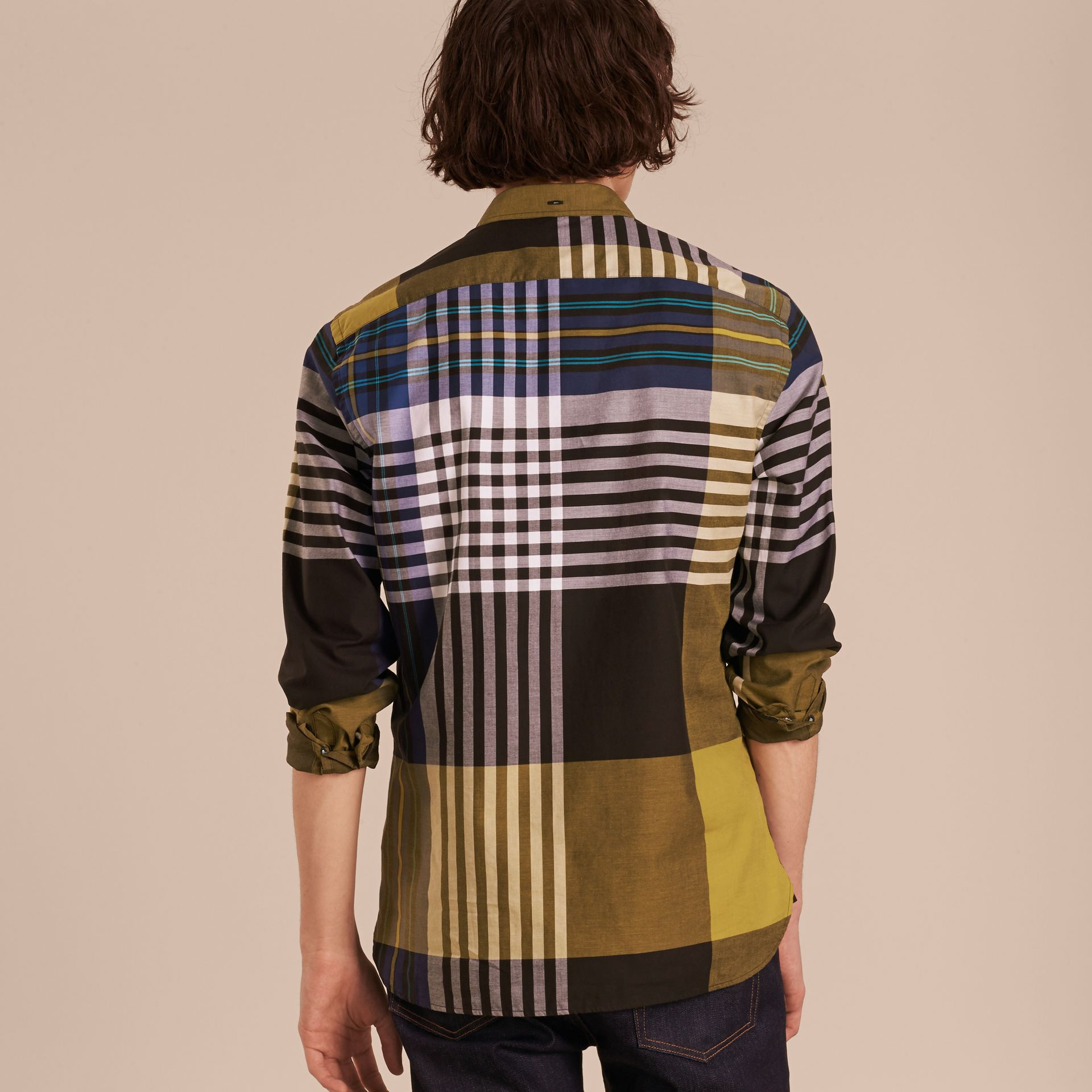 Graphic Tartan Cotton Shirt in Larch Yellow - gallery image 3