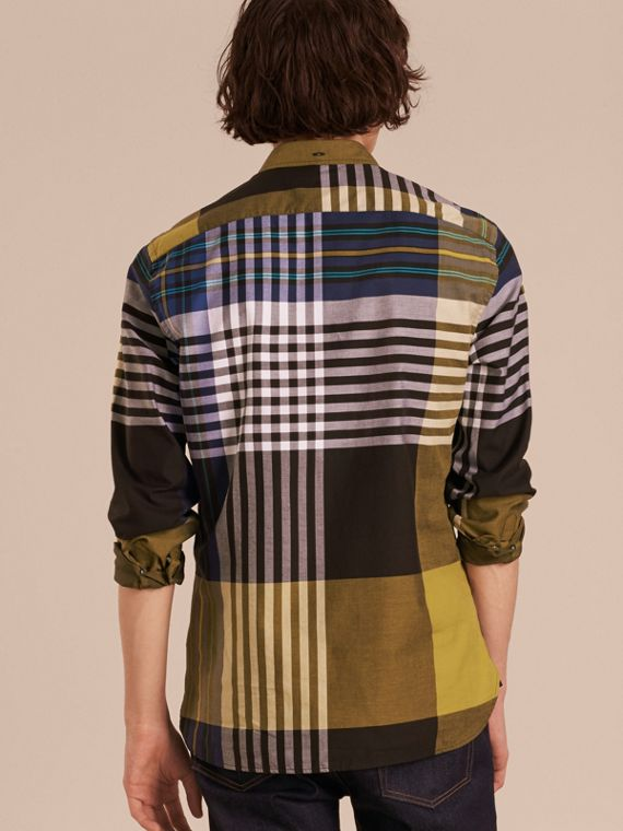 Graphic Tartan Cotton Shirt in Larch Yellow - cell image 2