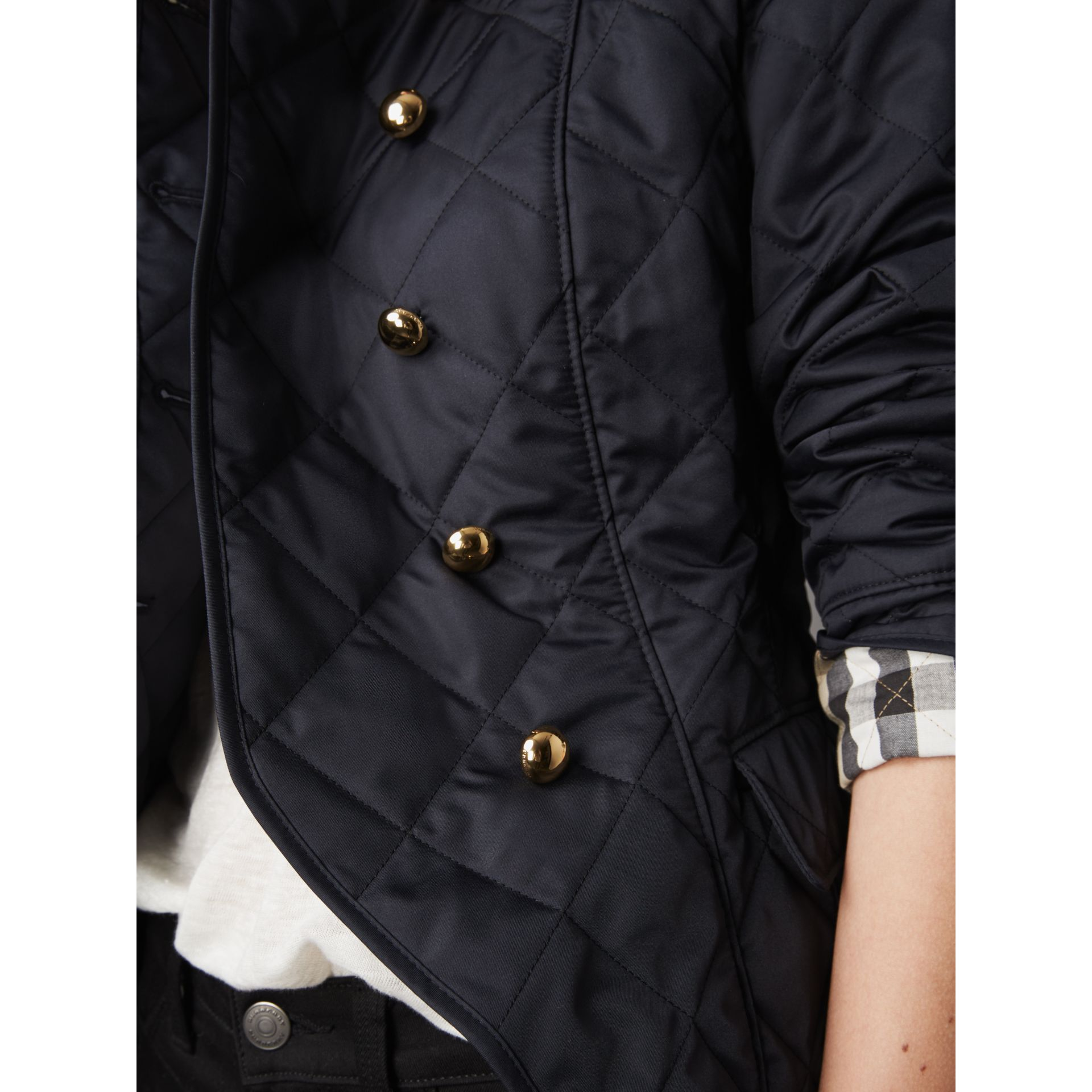 Double-breasted Quilted Military Jacket in Navy - Women | Burberry - gallery image 2
