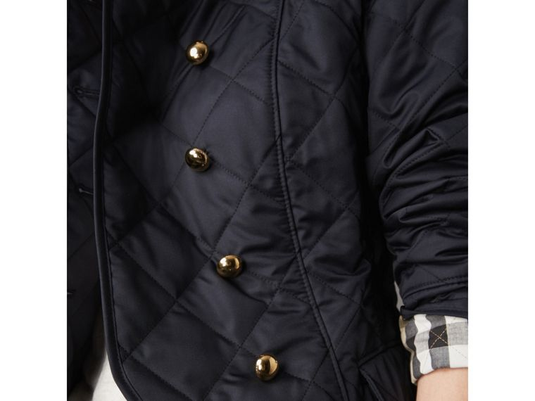 Double-breasted Quilted Military Jacket in Navy - Women | Burberry - cell image 1