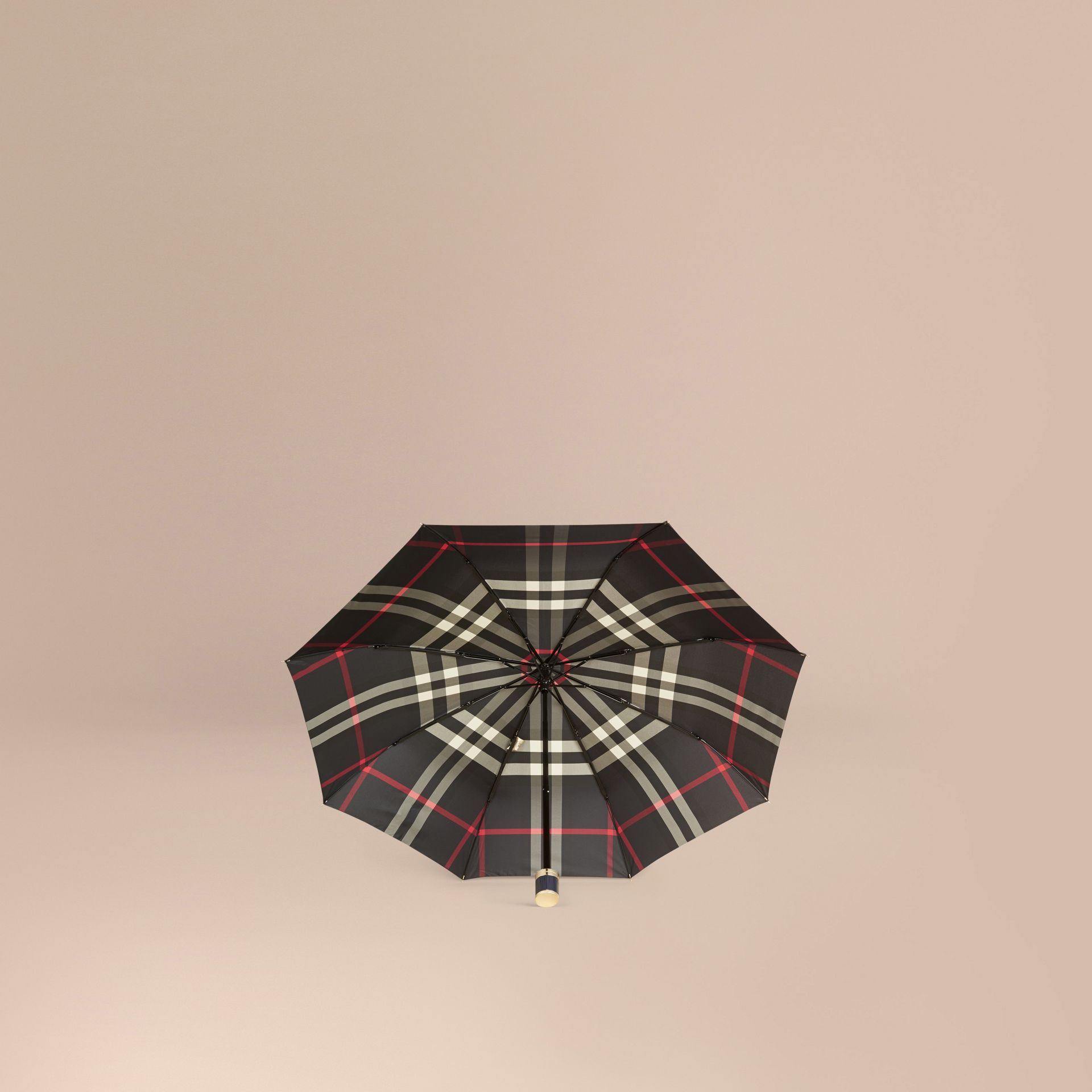 Navy Check Folding Umbrella Navy - gallery image 3
