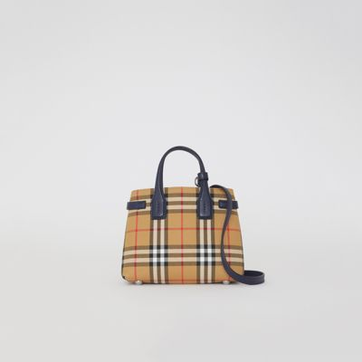 """SMALL """"THE BANNER"""" IN VINTAGE CHECK AND LEATHER"""