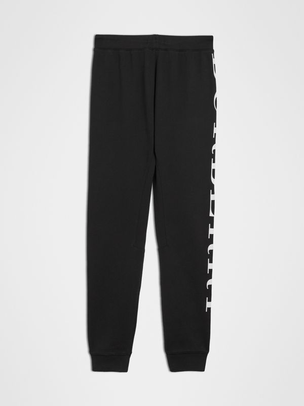 Logo Print Cotton Trackpants in Black | Burberry Singapore - cell image 3