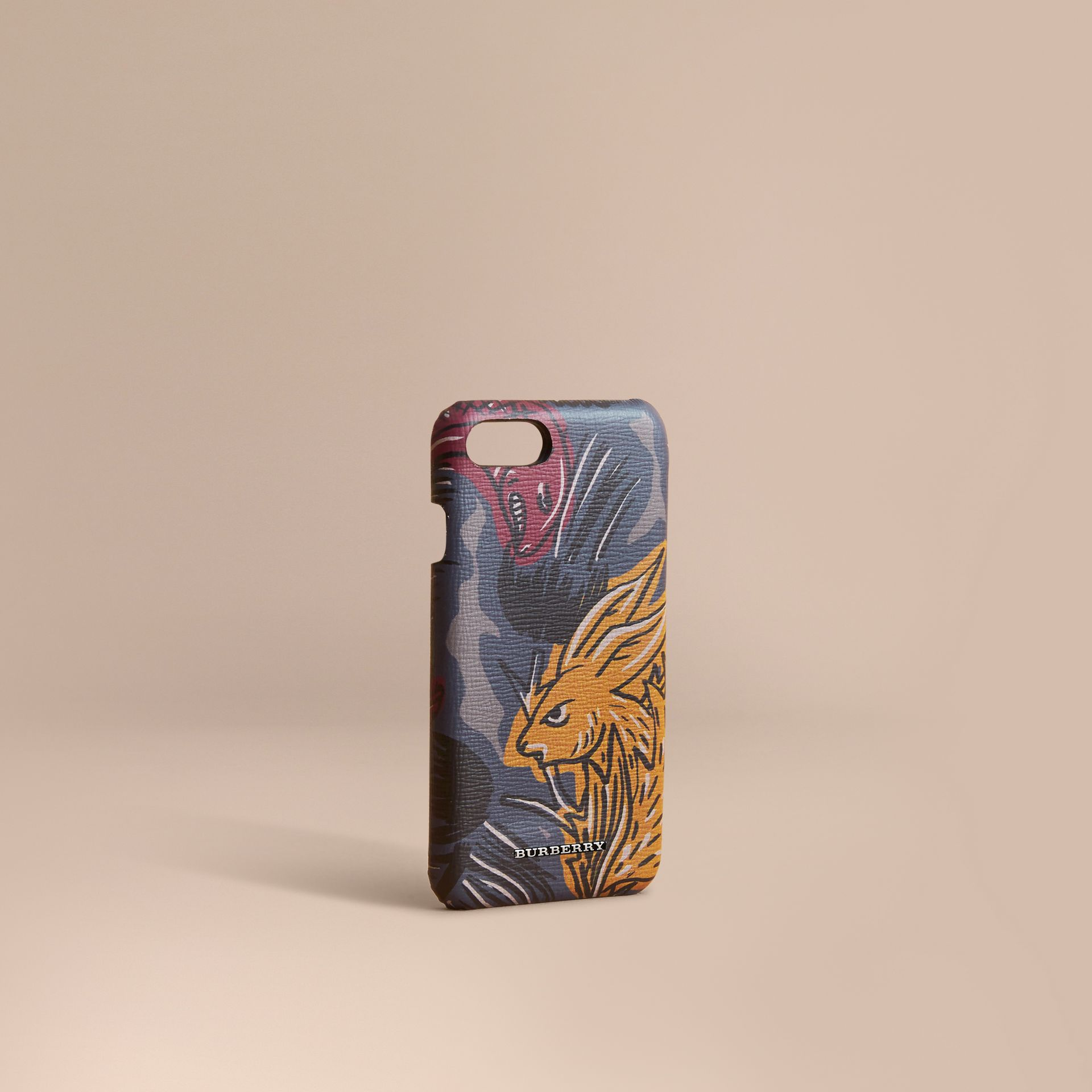 Beasts Print London Leather iPhone 7 Case in Navy Grey - Men | Burberry - gallery image 1