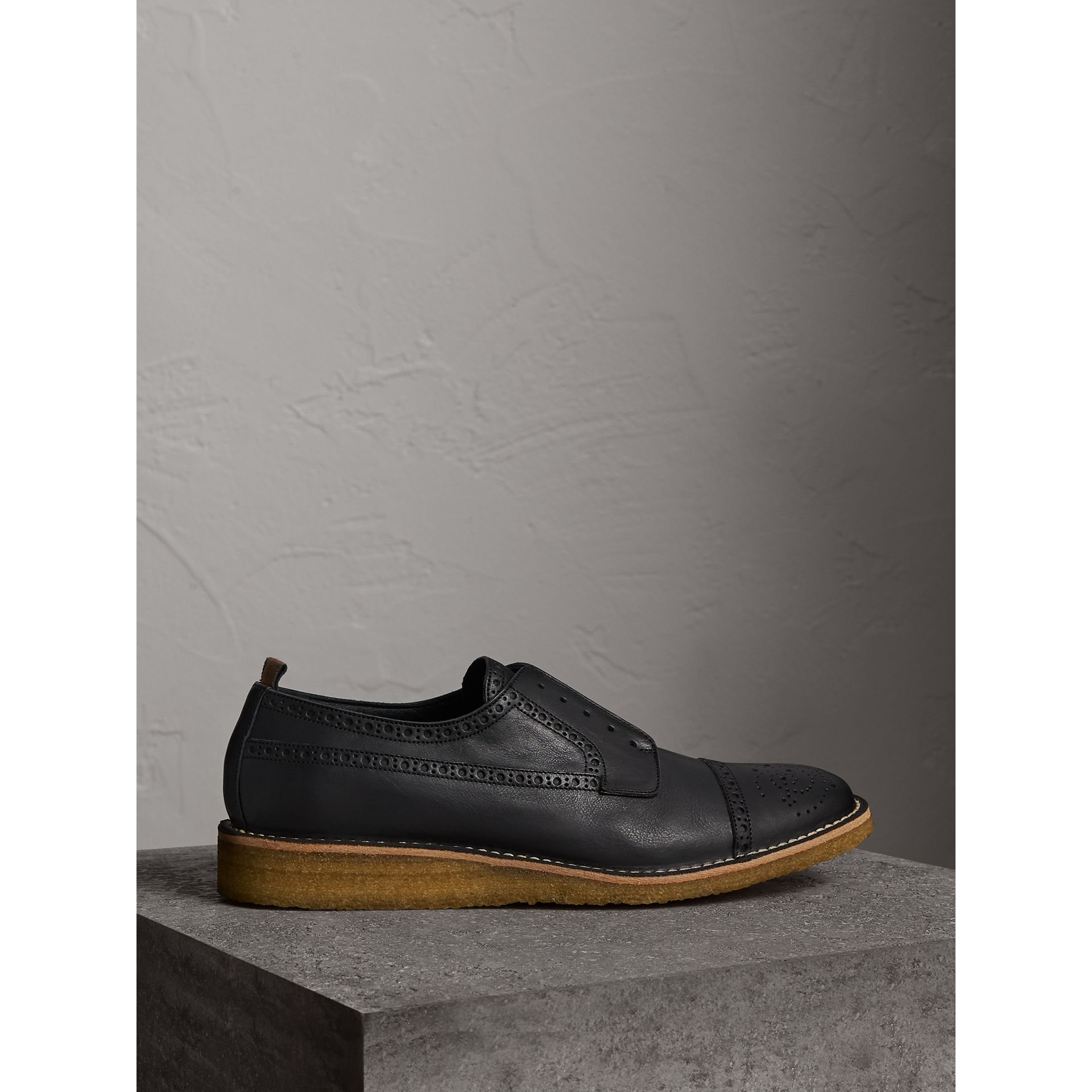 Raised Toe-cap Leather Brogues in Black - Men | Burberry - gallery image 4