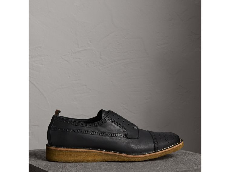 Raised Toe-cap Leather Brogues in Black - Men | Burberry - cell image 4