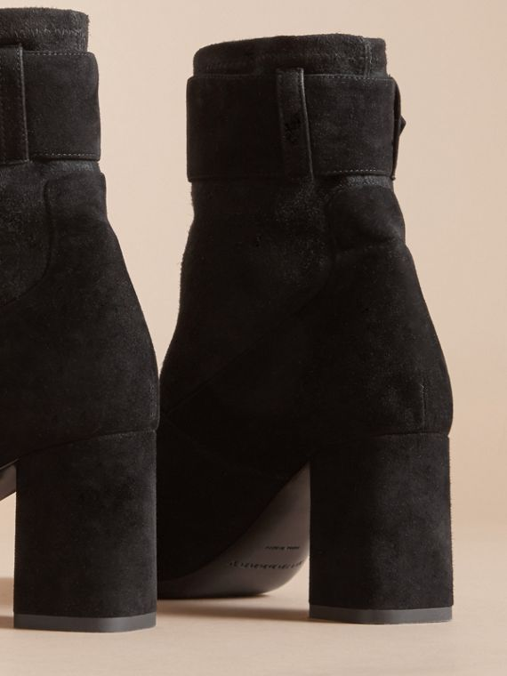Buckle Detail Kidskin Boots in Black - Women | Burberry - cell image 3
