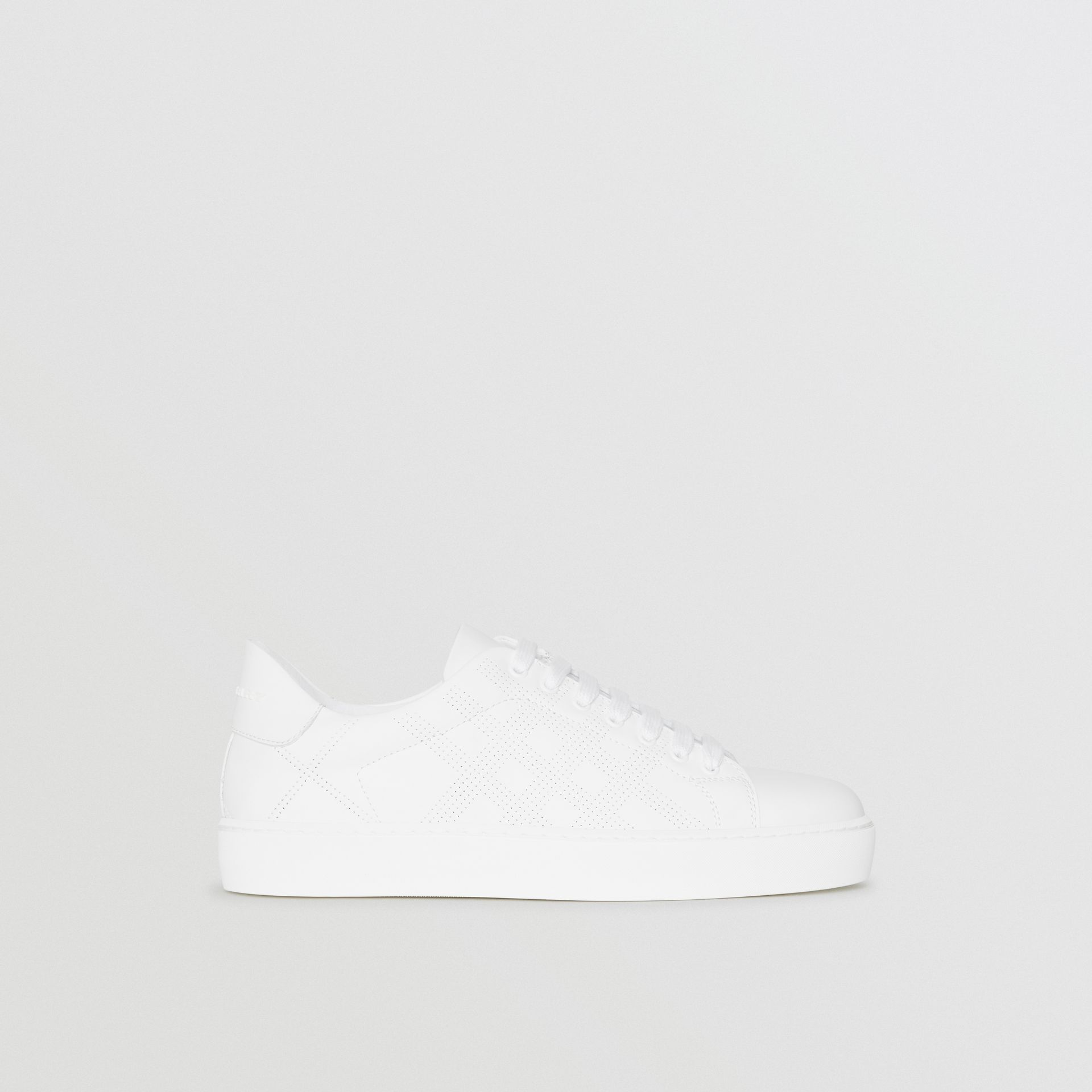 Perforated Check Leather Sneakers in Optic White - Women | Burberry United Kingdom - gallery image 5