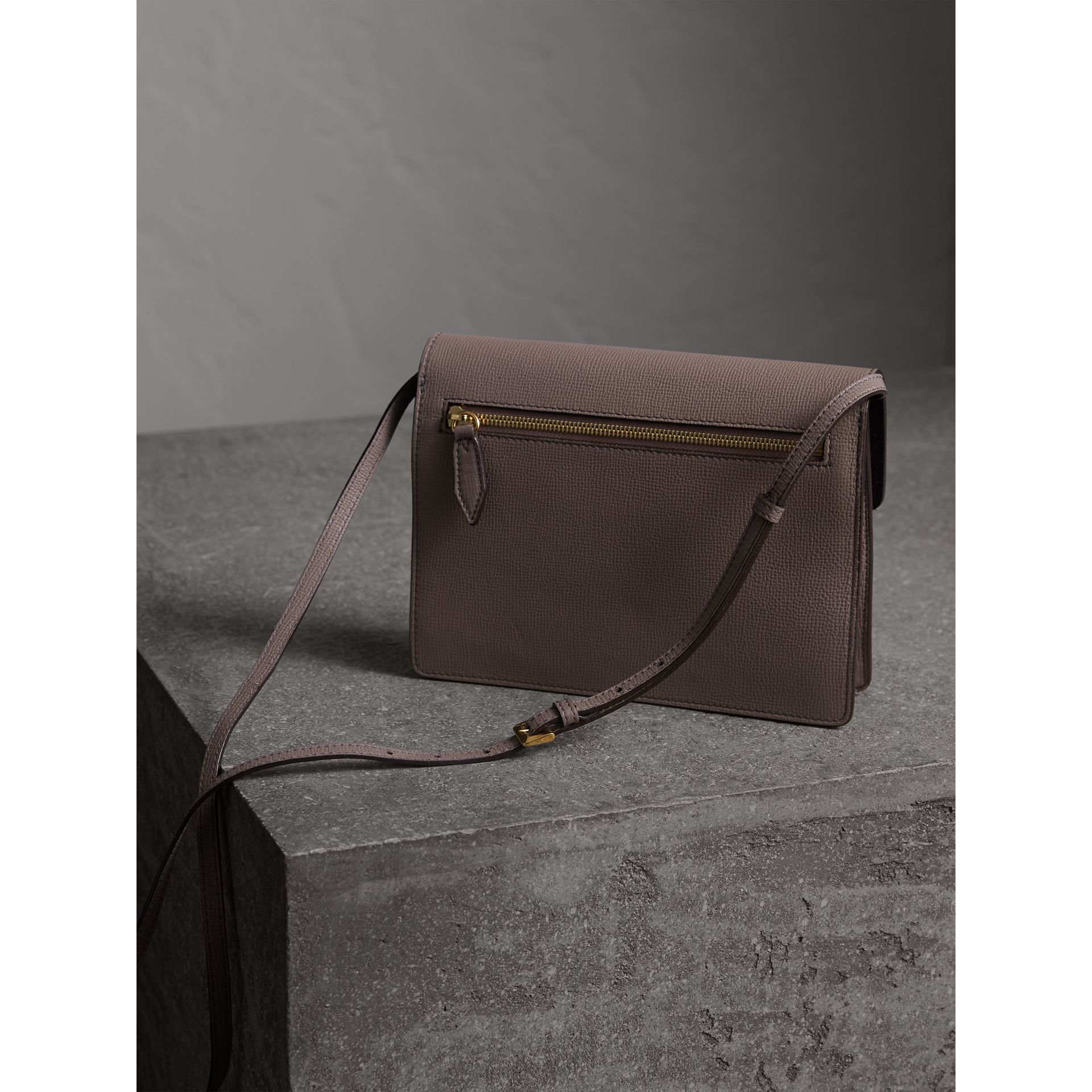 Small Leather and House Check Crossbody Bag in Thistle Grey - gallery image 4