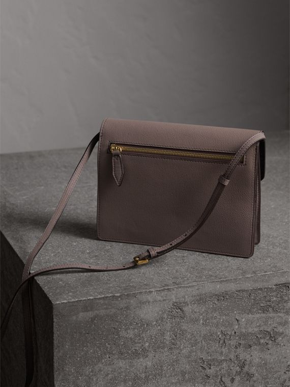 Small Leather and House Check Crossbody Bag in Thistle Grey - cell image 3