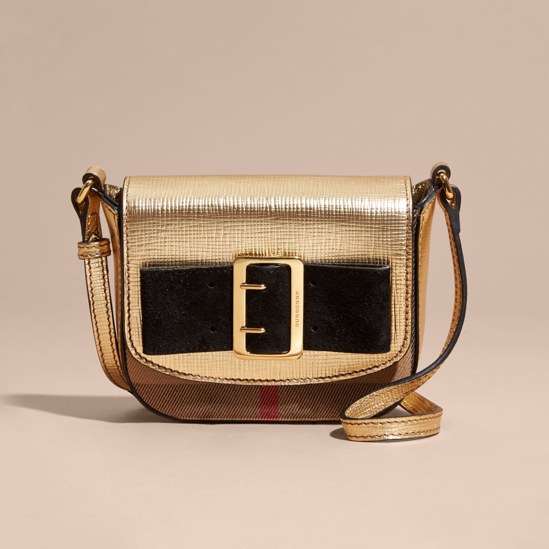 Gold Buckled Bow Metallic Leather Crossbody Bag - gallery image 6