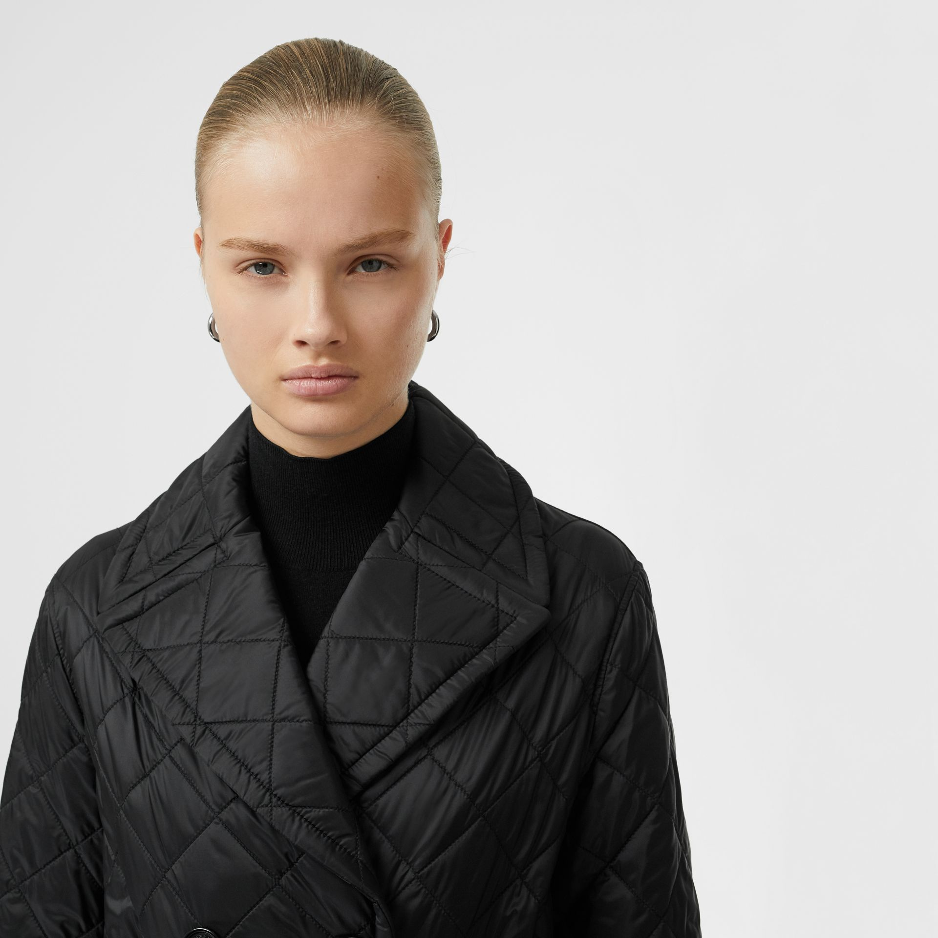 Lightweight Diamond Quilted Coat in Black - Women | Burberry United Kingdom - gallery image 1
