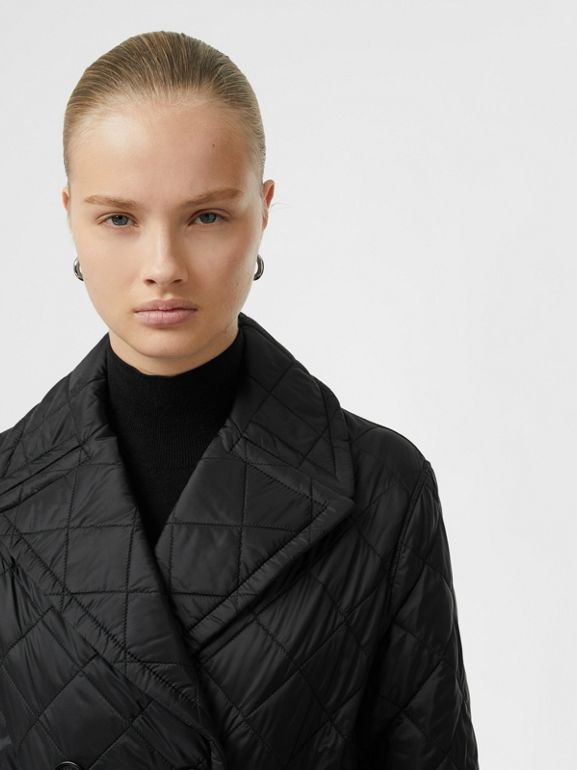 Lightweight Diamond Quilted Coat in Black - Women | Burberry - cell image 1