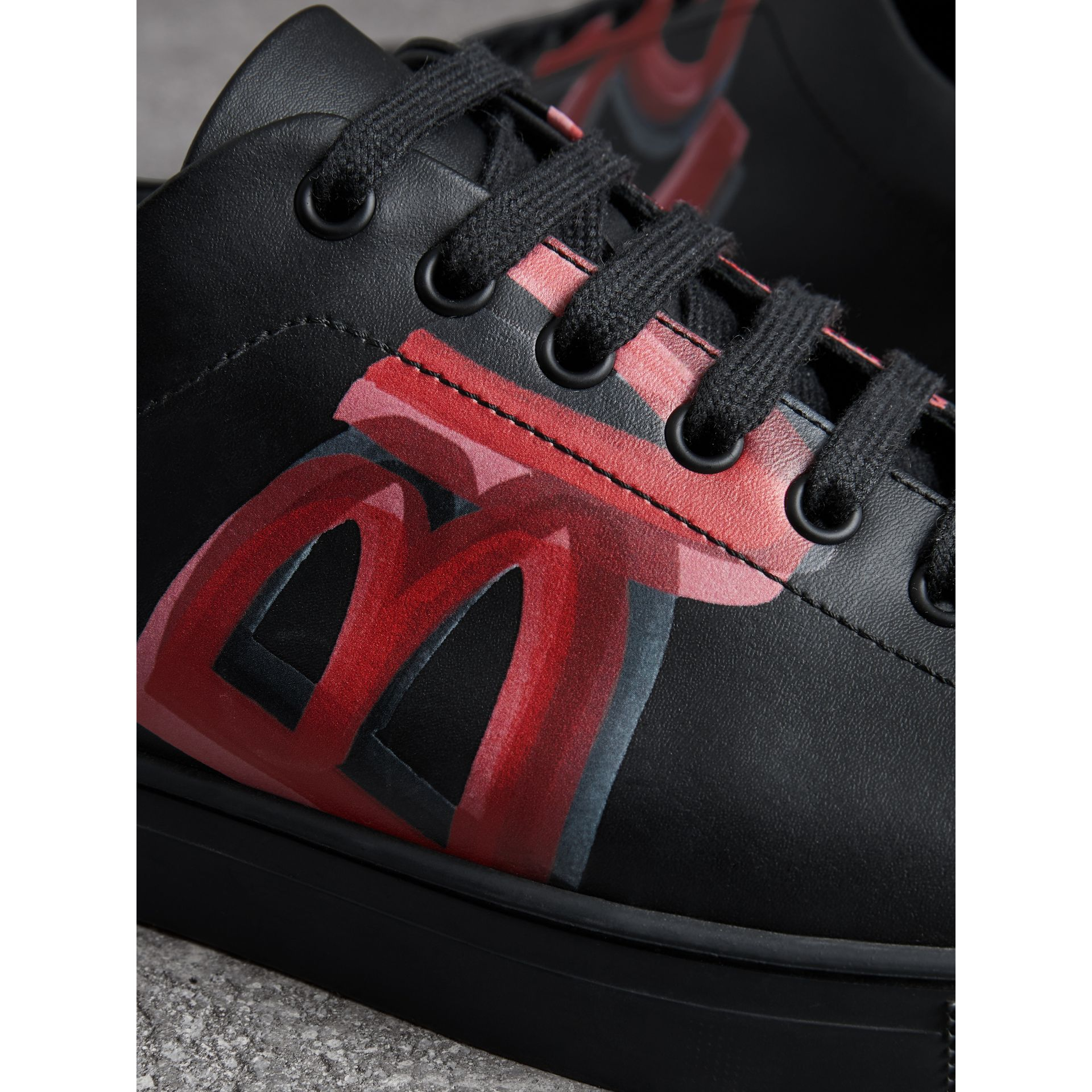 Logo Print Leather Sneakers in Black/bright Red - Men | Burberry Canada - gallery image 1