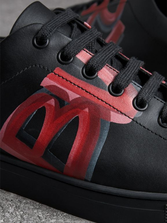 Logo Print Leather Sneakers in Black/bright Red - Men | Burberry - cell image 1