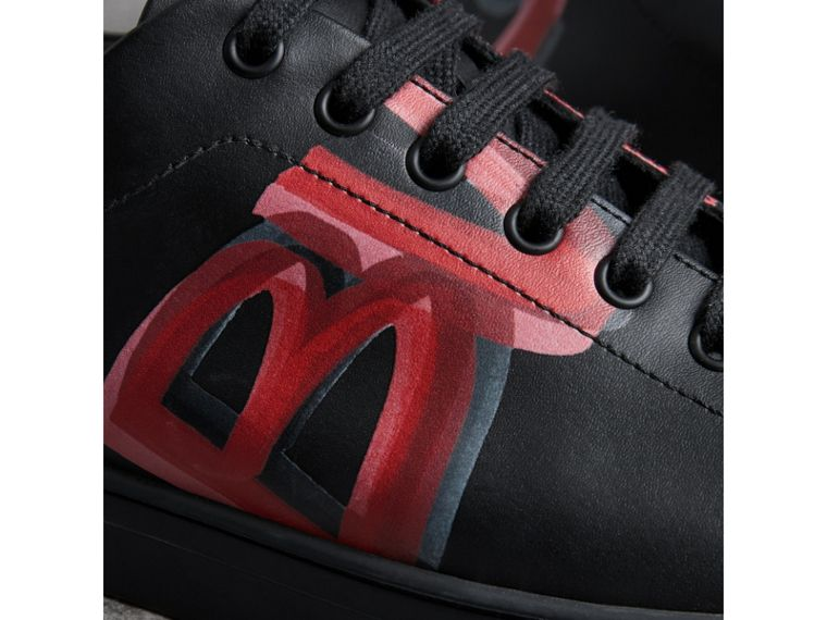 Logo Print Leather Sneakers in Black/bright Red - Men | Burberry United Kingdom - cell image 1