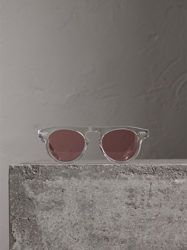 The Keyhole Round Frame Sunglasses in Crystal/pink | Burberry Singapore - cell image 3