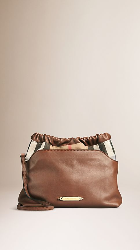 Brown ochre The Little Crush in Leather and House Check - Image 1