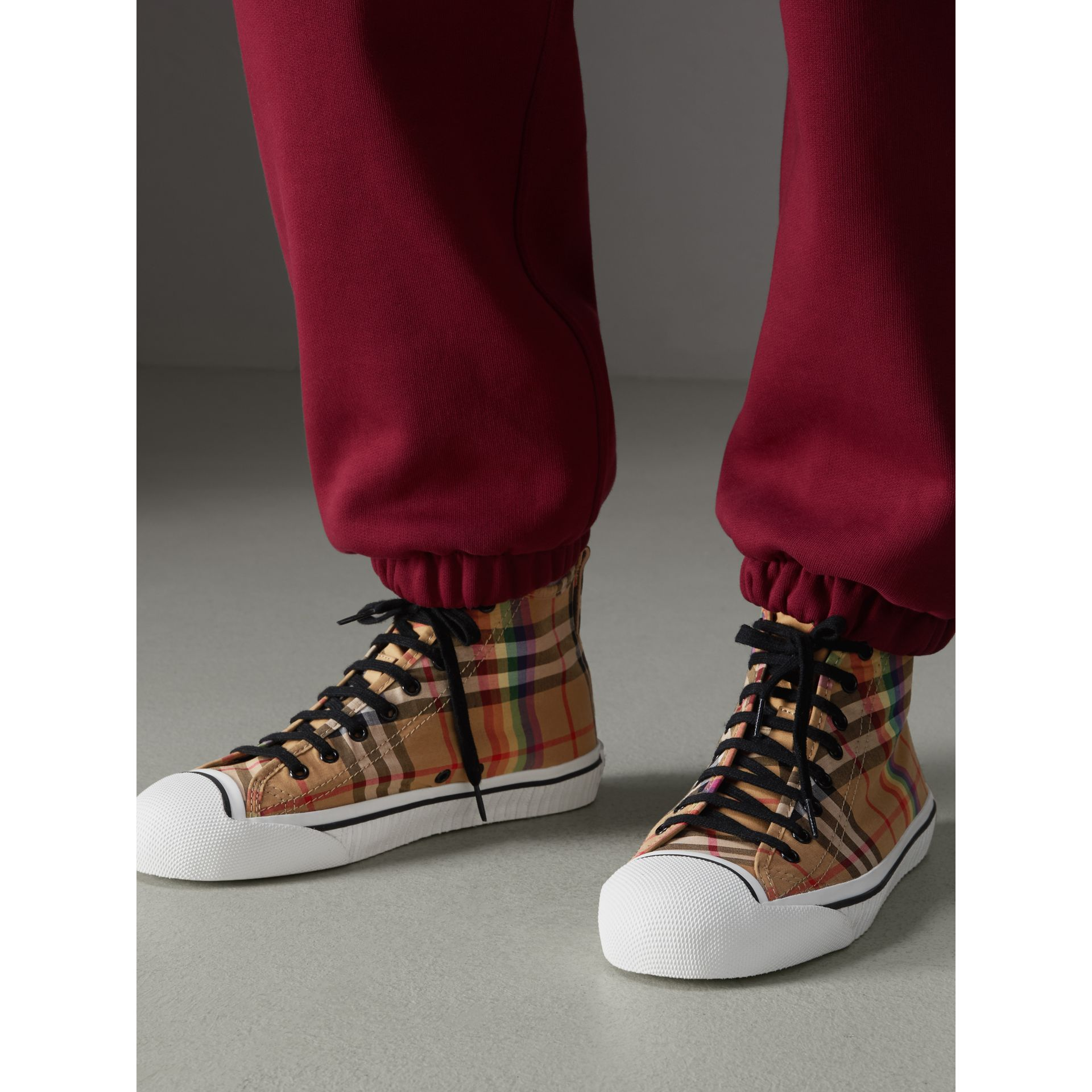 Rainbow Vintage Check High-top Sneakers in Antique Yellow - Men | Burberry Australia - gallery image 2
