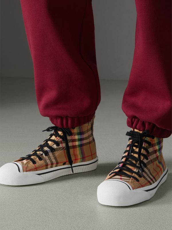 Rainbow Vintage Check High-top Sneakers in Antique Yellow - Men | Burberry Australia - cell image 2