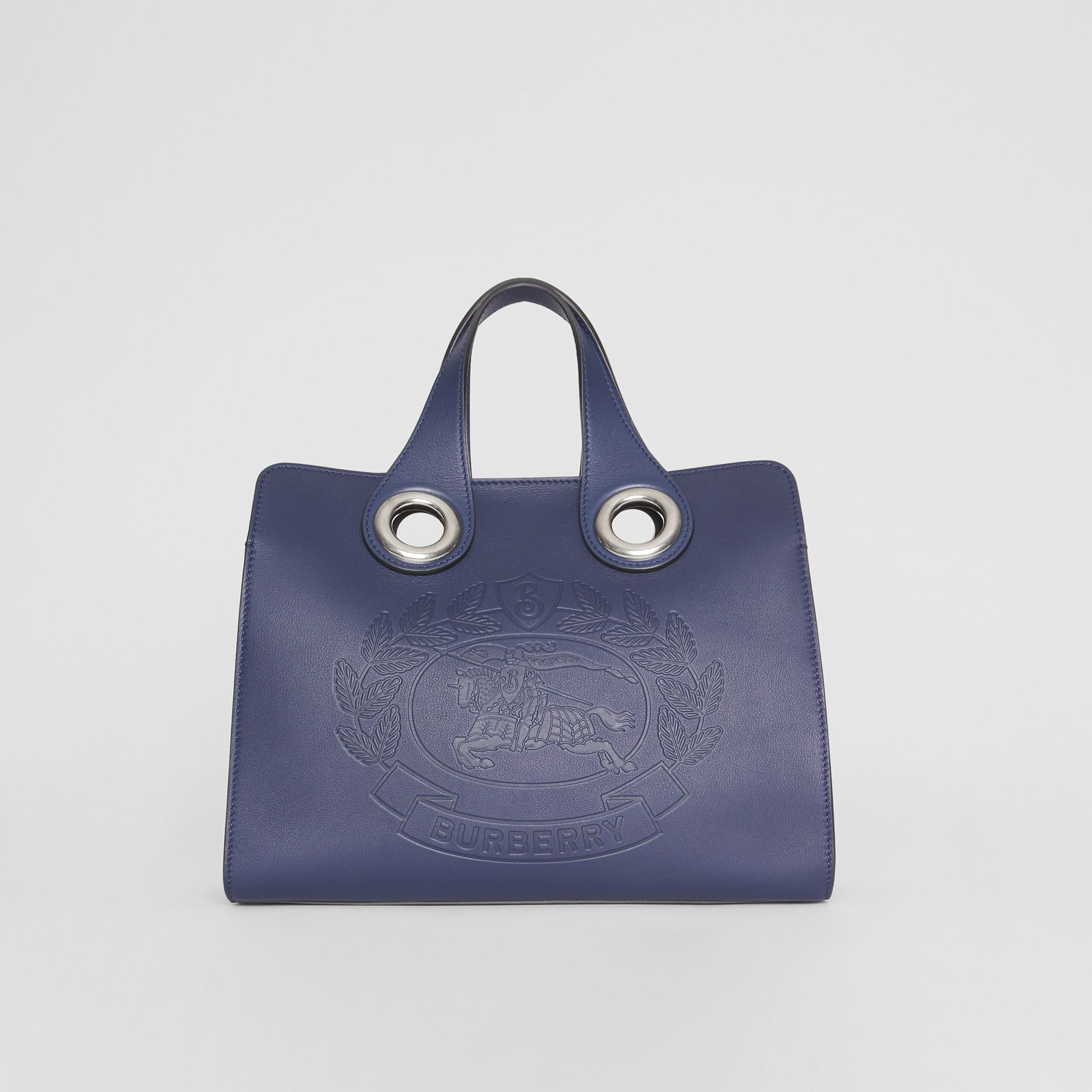 The Leather Crest Grommet Detail Tote in Regency Blue - Women | Burberry Canada - gallery image 0