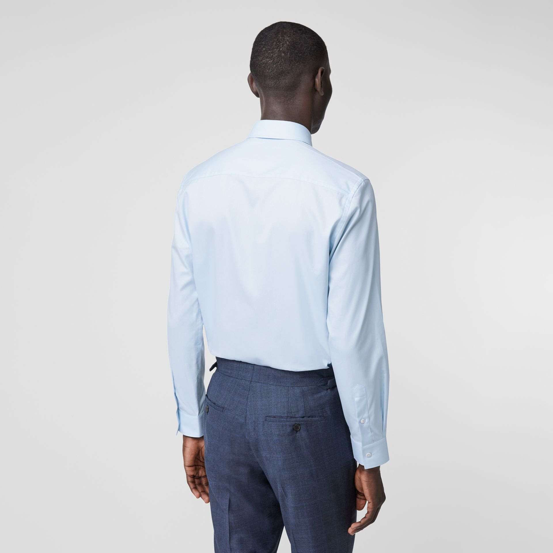 Classic Fit Monogram Motif Cotton Oxford Shirt in Pale Blue - Men | Burberry United Kingdom - gallery image 2