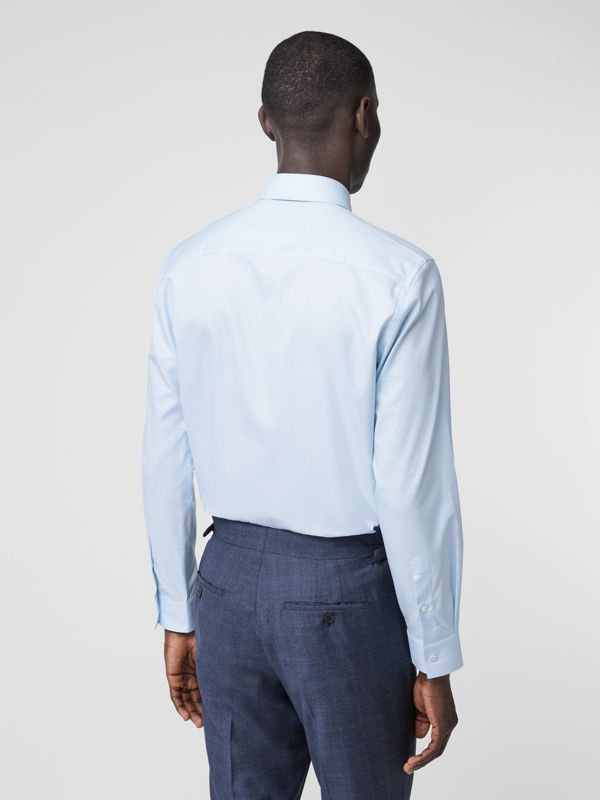 Classic Fit Monogram Motif Cotton Oxford Shirt in Pale Blue - Men | Burberry United Kingdom - cell image 2