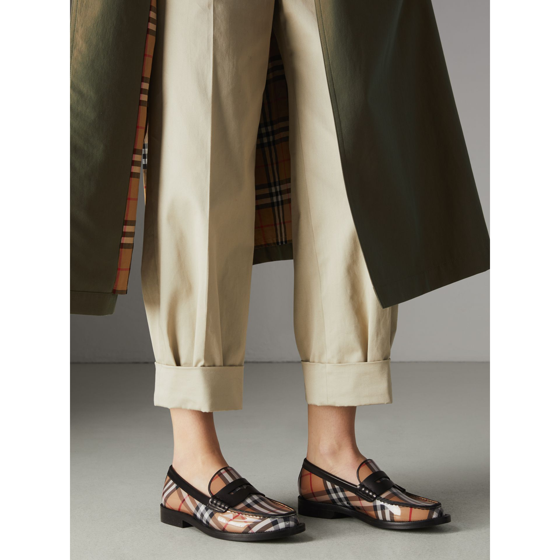 Vintage Check and Leather Penny Loafers in Antique Yellow - Women | Burberry Australia - gallery image 2