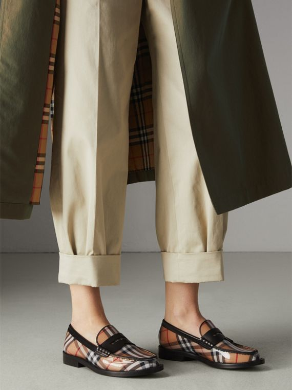 Vintage Check and Leather Penny Loafers in Antique Yellow - Women | Burberry - cell image 2