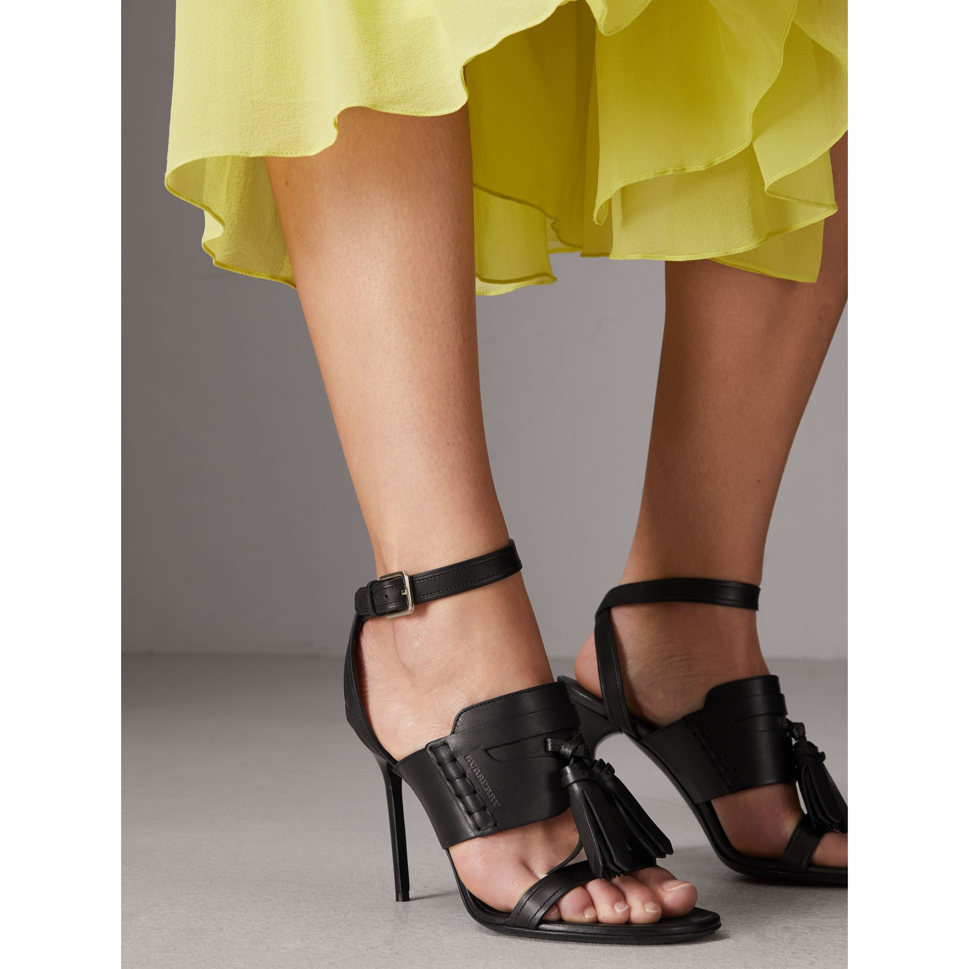 Tassel Detail Leather Sandals in Black - Women | Burberry - gallery image 2