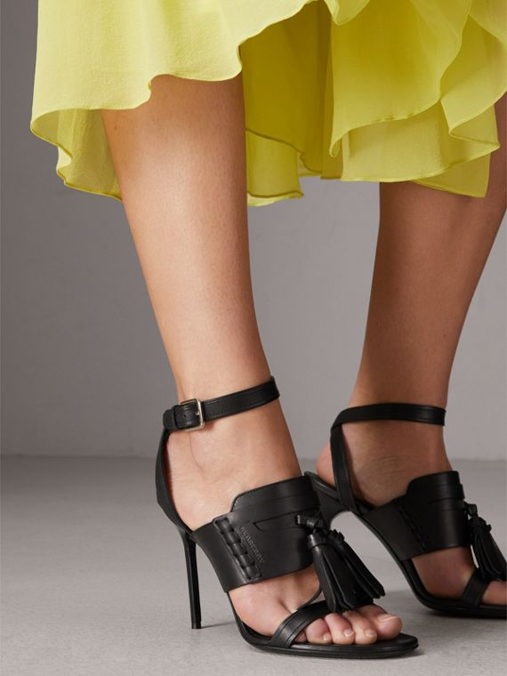 Tassel Detail Leather Sandals in Black - Women | Burberry - cell image 2