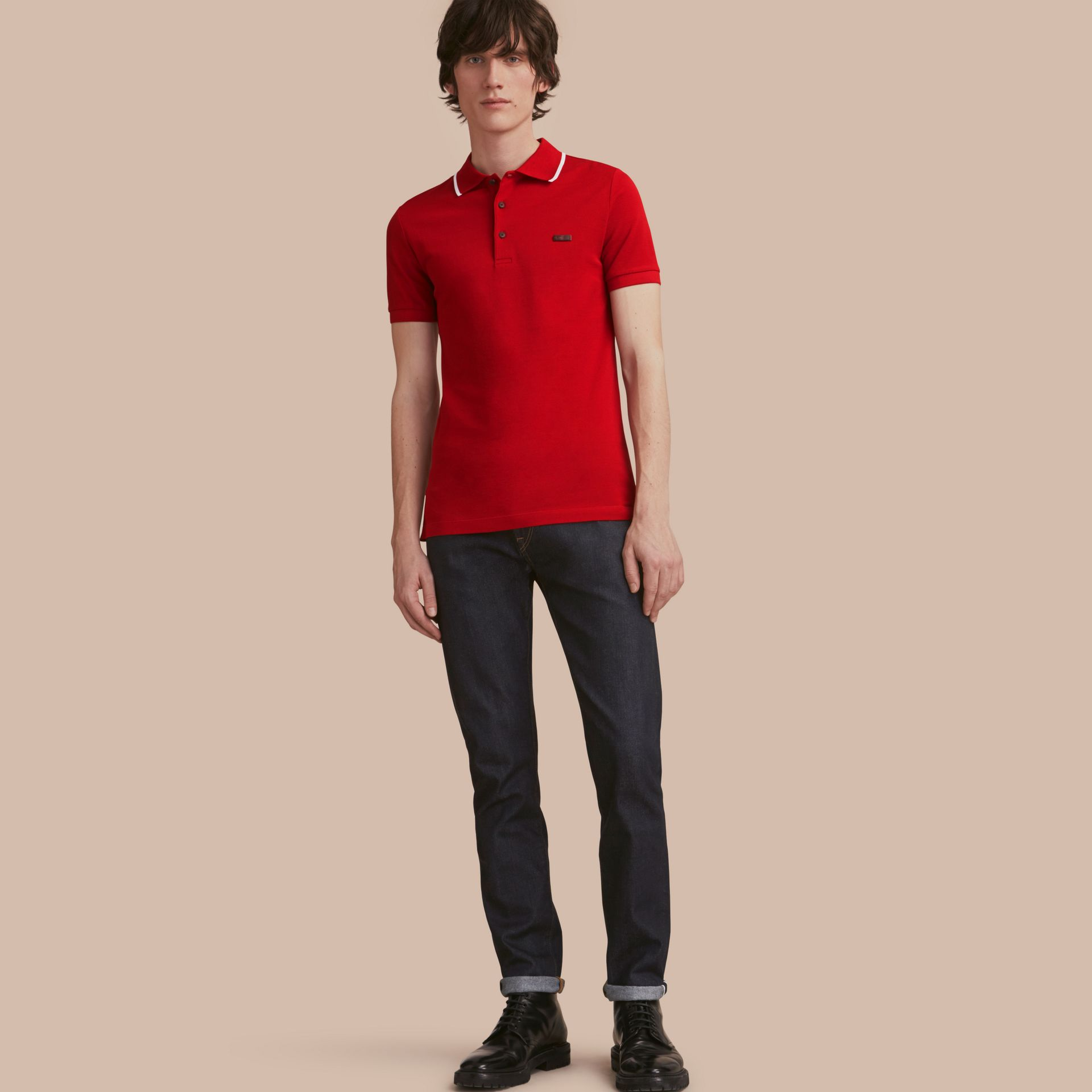 Tipped Collar Cotton Piqué Polo Shirt Military Red - gallery image 1
