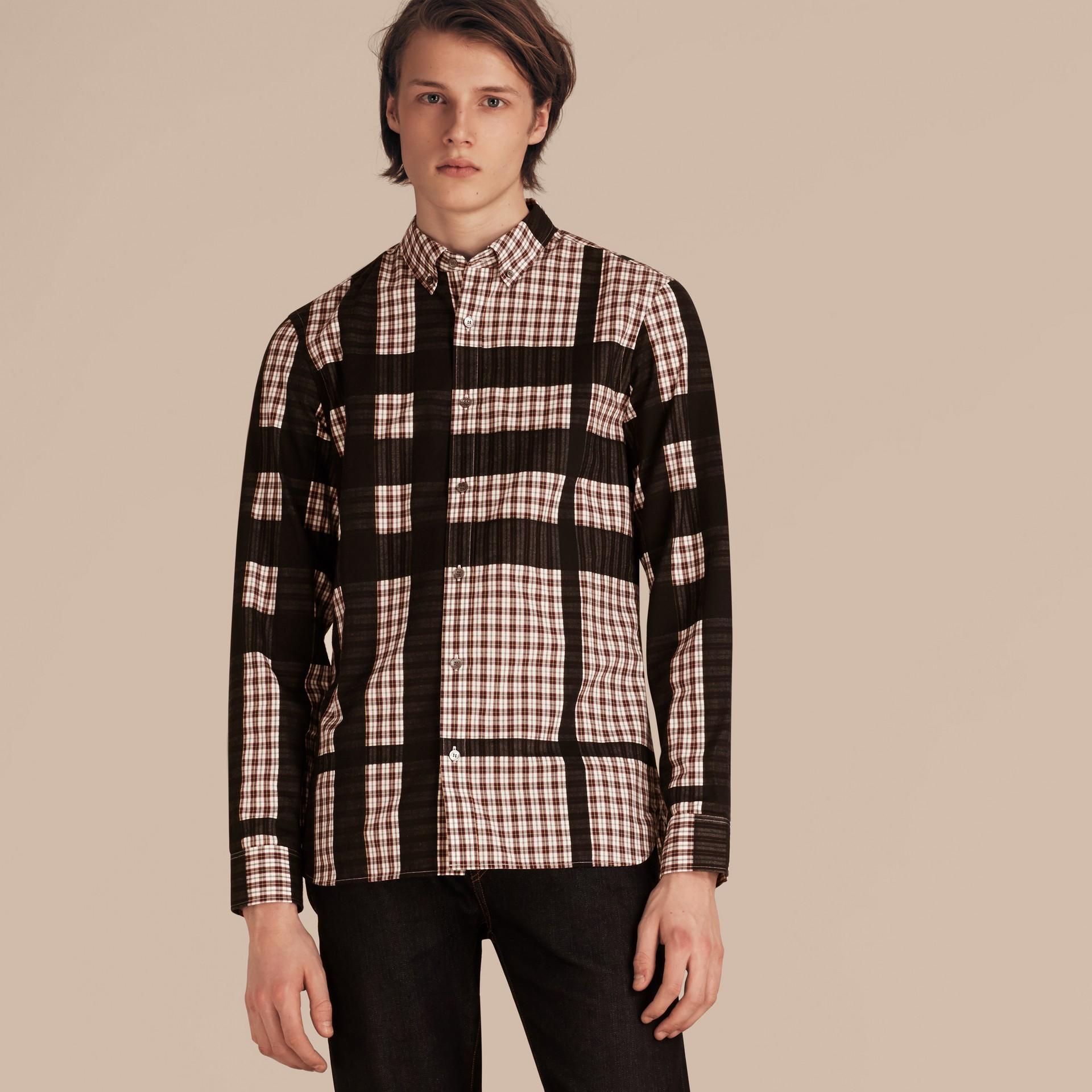 Burgundy red Camisa de flanela algodão com estampa xadrez em trama jacquard Burgundy Red - galeria de imagens 6