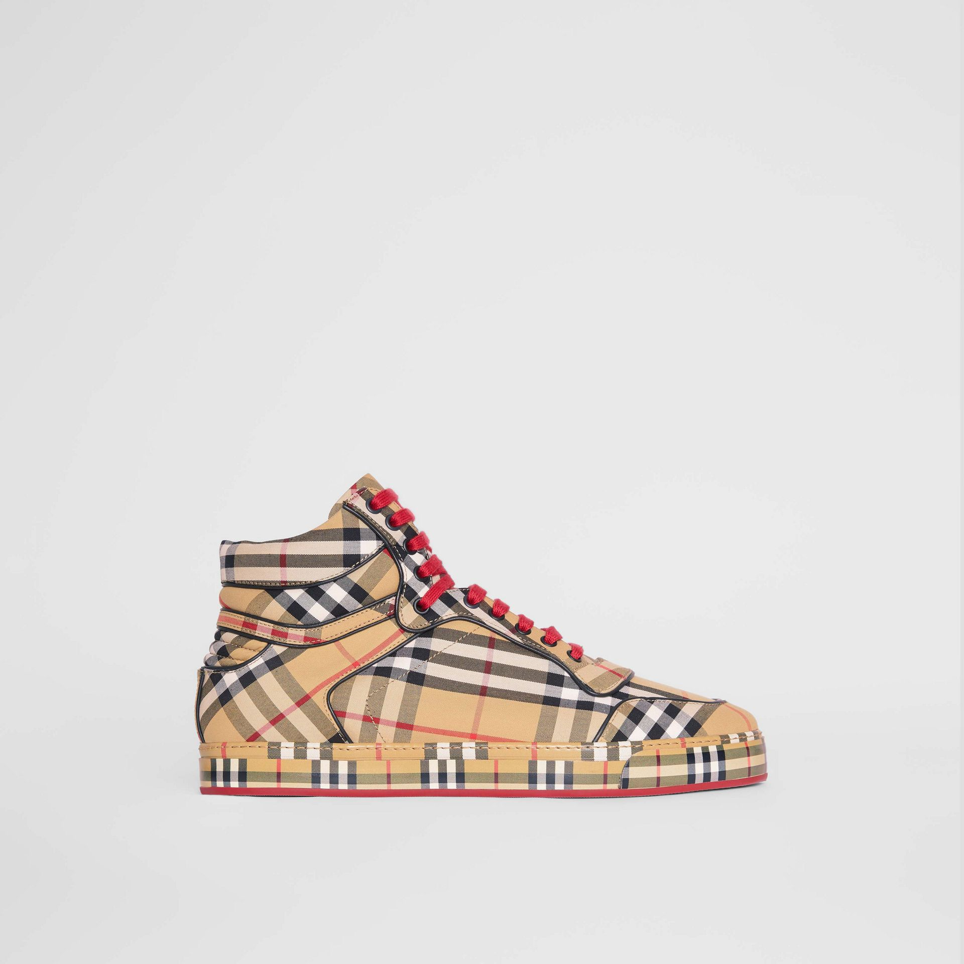 Vintage Check Cotton High-top Sneakers in Antique Yellow - Men | Burberry Australia - gallery image 5