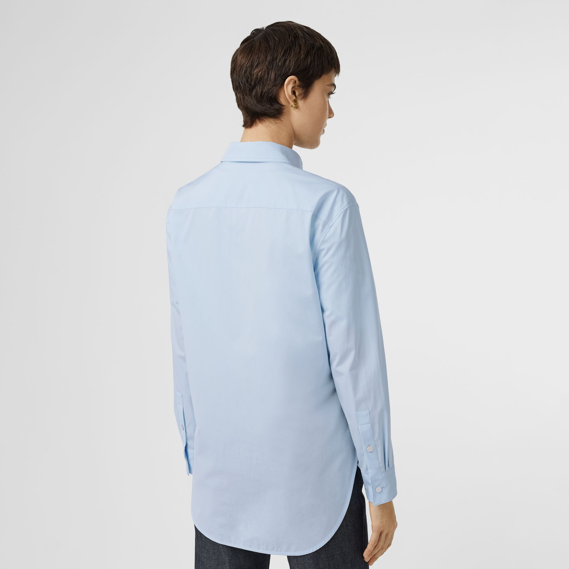 Button-down Collar Monogram Motif Cotton Shirt in Pale Blue - Women | Burberry - gallery image 2