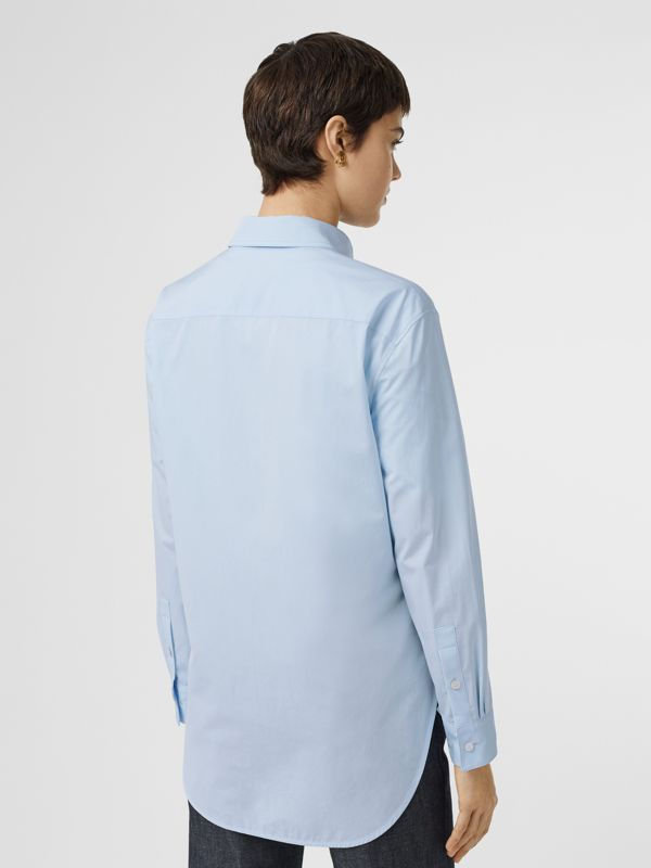 Button-down Collar Monogram Motif Cotton Shirt in Pale Blue - Women | Burberry - cell image 2