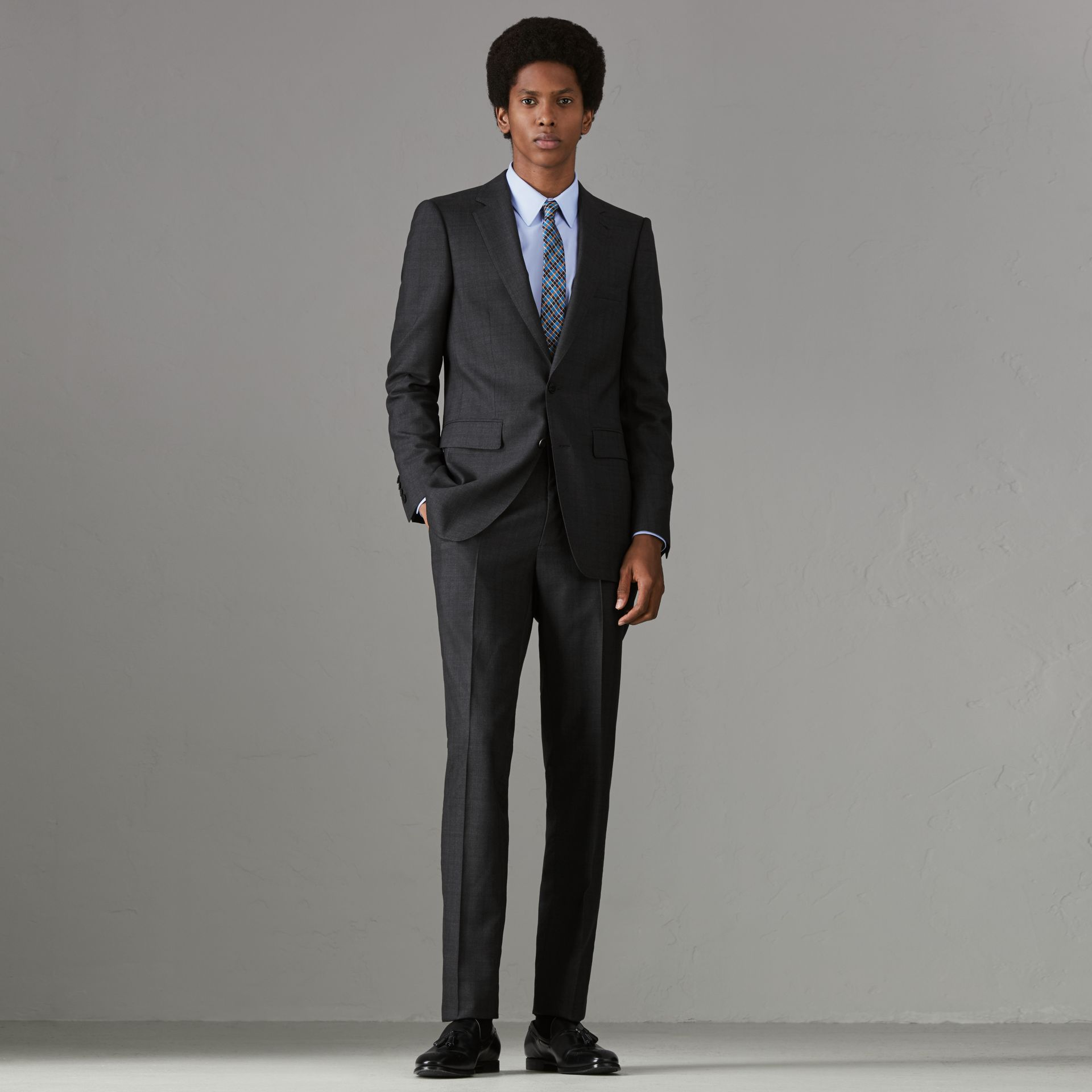 Slim Fit Prince of Wales Check Wool Silk Suit in Charcoal Melange - Men | Burberry - gallery image 0